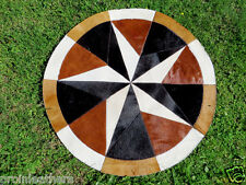 """Star Cowhide Rug Cow Hide Skin Carpet Leather Round patchwork S66 area 40"""" p9"""