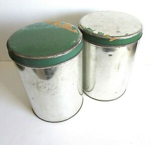"Old Pair Vintage Metal Kitchen Canisters Silver & Green 7.25"" Rustic FREE SH"