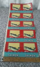Vintage Canned Food Lables 1 Sheet 5 Uncut lables made for cans of Salmon