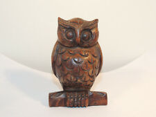 Carved Wooden Owl by Chinese Craftmen 4 inches tall  (13304)
