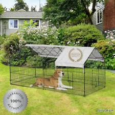 Outdoor Pet Enclosure Small Animal Metal Cage Dog Cat Bunny Kennel Shelter Cover