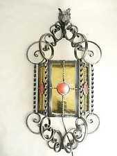 Lampadario lanterna applique in ferro battuto da parete vetri gialli forgiato