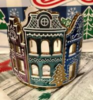 NEW Bath & Body Works CERAMIC GINGERBREAD VILLAGE 3 Wick CANDLE HOLDER Luminary