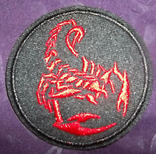 SCORPION PATCH SCORPIO EMBROIDERED PATCH ROUND ASTROLOGY RED ASTROLOGICAL SIGN
