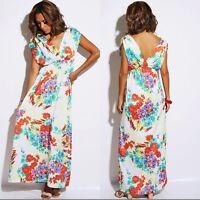 Ladies Women's Party Summer Chiffon look Maxi Long Dress floral  UK 8,10,12
