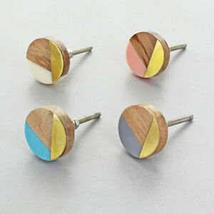 Three Tone Wood, Resin And Gold Handles And Knobs
