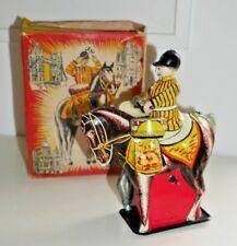 VINTAGE WELLS CLOCKWORK DRUMMER BOY ON HORSE BOXED 1950's TINPLATE TOY RARE C479