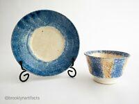 Antique Staffordshire Brown & Blue Spatterware Art Pottery Tea Cup & Saucer