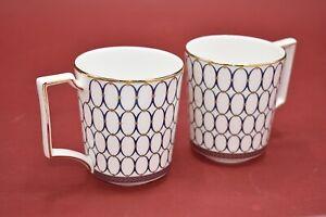 Wedgwood Renaissance Gold & Blue Pair Of Rare Mugs - Brand New 1st Quality