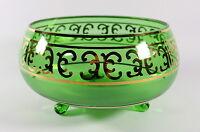 """Vtg Bohemia Czech Art Glass Footed Vase Bowl Green Gold Overlay Swirl 4.25"""" H"""