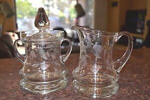Large Engraved Handblown Covered Sugar and Creamer