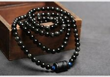 Natural Black Rainbow Obsidian Eyes Bead Wrap Bracelet Necklace Engraved Dragon