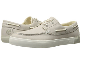 TIMBERLAND TB0A1GTQF48 2-EYE BOAT OXFORD Mn's (M) White Canvas Boat Shoes