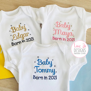 Personalised Baby 2021 Vest - Bodysuit Gift - Embroidered Baby Clothing