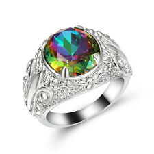 Size 8 Band Rainbow Topaz 10K white Gold Filled Men's Wedding flower Ring Gift