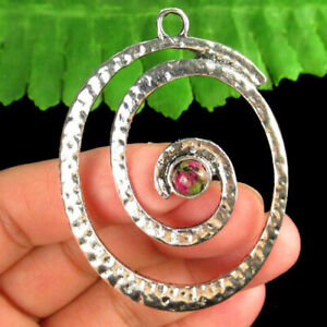 Carved Tibetan silver Wrapped Ruby in Fuchsite Oval Pendant Bead R53106