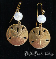 EARRINGS for holidays! vintage Florida sand dollar urchin DISCS + MOONSTONE bead