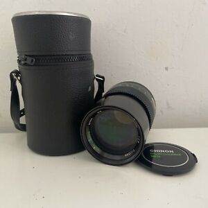 VERY FINE AUTO CHINON 1:2.8 135mm MC TELEPHOTO LENS With Case Great Condition
