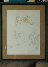 """PRINT BY SUSAN OBRANT """"He Loves Me"""" 22 x 28 FIRST STATE REPRO custom framed"""