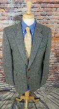 Jean Oliver POLAND 42L Grey Herringbone Tweed Wool ELBOW PATCH Sport Coat Blazer