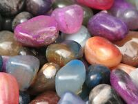 Bulk Pack 10 x Mixed Coloured Agate Crystal Tumble Stones - Omni New Age
