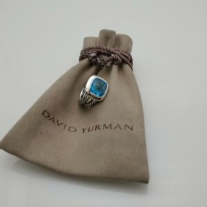 David Yurman 925 sterling silver 11mm Albion Ring with Blue Topaz size 8