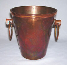 Beautiful Solid Copper BUCKET VASE w/Removable Copper Flower Frog Holder