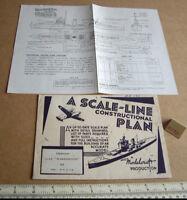 1940s Vintage Home Front Modelcraft Plan Destroyer USS Warrington (Micromodels)