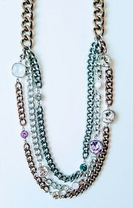 Swarovski Authentic Multi Layer Necklace With Pastel Crystals
