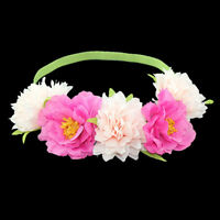 Ladies Flower Boho Festival Wedding Garland Forehead Headband Elastic Hair Band