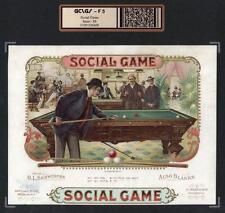 Billiards Pool c1895 - Social Game - ORIGINAL Extra RARE Cigar Box Label #6428