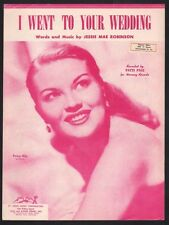 I Went To Your Wedding 1952 Patti Page Sheet Music