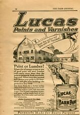 1921 small Print Ad of Lucas Paints & Varnishes Blood Red Barn Paint