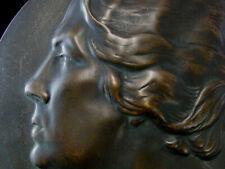 Bronzeplatte Art Deco Portrait Frau Monogramm W R 1921 sehr schöne Arbeit