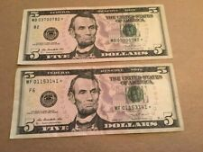 $5 2013 star note replacement lot one note with 007 in serial number