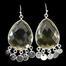 Natural 65.60TCW Pear Cut 26x18mm Yellow Lemon Quartz 925 Silver DANGLE Earrings