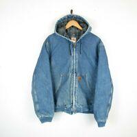 VTG 90s Carhartt Mens Denim Blue Hooded Jacket Blanket Lined Zip Up Workwear | L