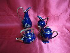 4 miniatures porcelaine LIMOGES bleu four courtisans fleurs dorées