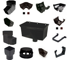 SQUARE LINE GUTTERS FITTINGS UPVC RAINWATER SYSTEMS BLACK PLASTIC ROOFING