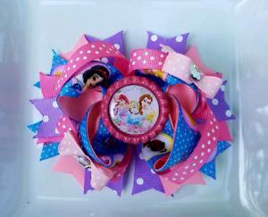 "Ariel Bell Cinderella Disney Princess Pink Blue Purple Bottle Cap Hair Bow 5"""