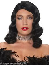 Ladies Sexy Black Shoulder Length Femme Fatale Fancy Dress Costume Outfit Wig