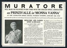 1918 Lucien Muratore photo opera singing recital tour booking trade print ad