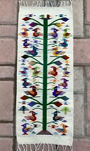 """Zapotec Oaxacan 16""""x39"""" Hand Woven Tree of Life Wool Home Tapestry Rug Runner"""
