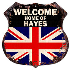 BWUK0117 Welcome Home of HAYES UK Flag Family Name Sign Decor Gift Ideas