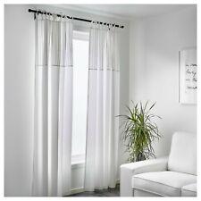 "Ikea PÄRLBLAD PARLBLAD Curtains w/Tie Heading White 1 Pair 57"" x 98"" - NEW"