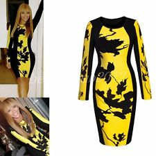 Women's Stretch, Bodycon Long Sleeve Business Knee Length Dresses