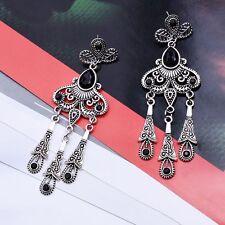 Shape Long Tassel Dangle Earrings Black Diamond Ear Stud Gem Hanging Earrings