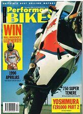 Performance Bikes Dec 1989 Yamaha XTZ750 Super Tenere CB450 GS500 Yoshimura FZR