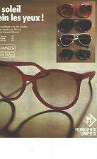 PUBLICITE advertising 1976   MONOPRIX UNIPRIX lunettes solaires Country