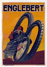 vintage print cafe racer Bike ENGLEBERT Tyres poster wall decor  70cm x 50cm